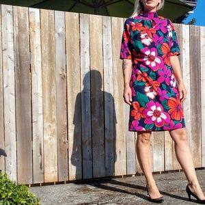 Vintage Tropical Floral Polyester Dress Large